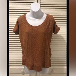 Lucky Brand Rust Short Sleeve Knit Patterned Top
